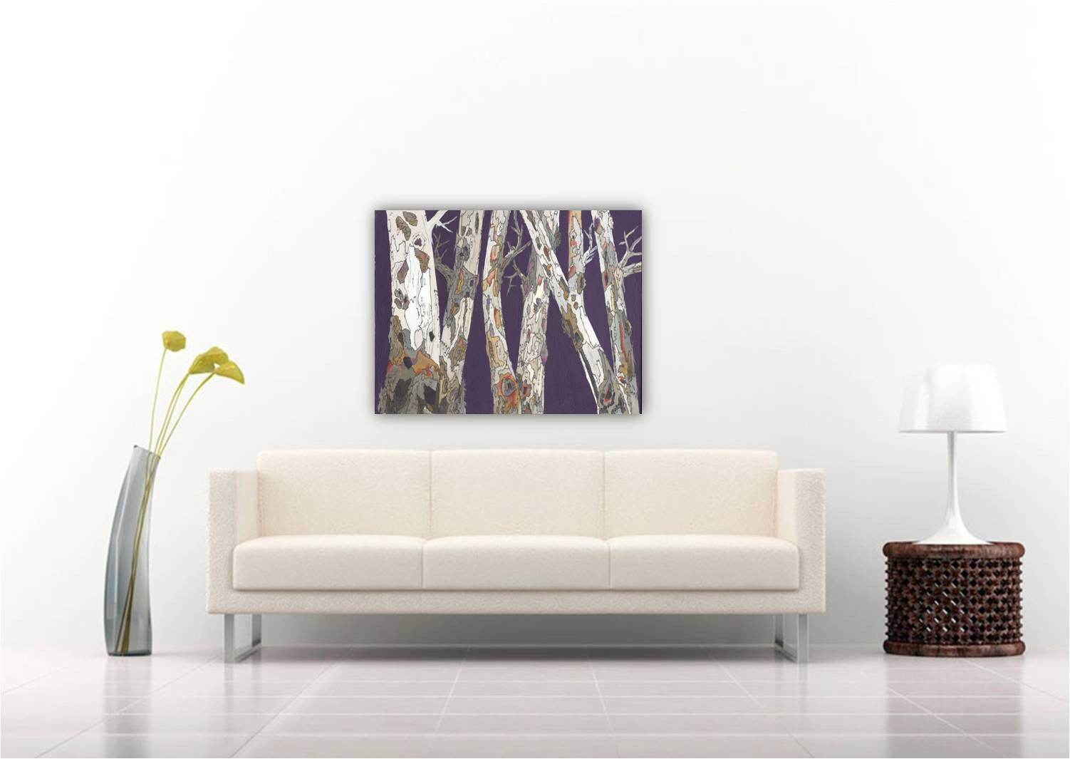 Large artwork ORIGINAL masculine wall art purple white landscape painting modern tree art