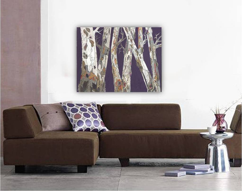large original painting of trees, large original artwork, original canvas wall art, original canvas art, original painting of trees, original tree art, purple tree art, original landscape painting, painting of tree branches, original landscape purple, artwork over sofa, artwork over couch, purple bedroom wall decor, living room purple wall art, dining room wall art, original purple painting