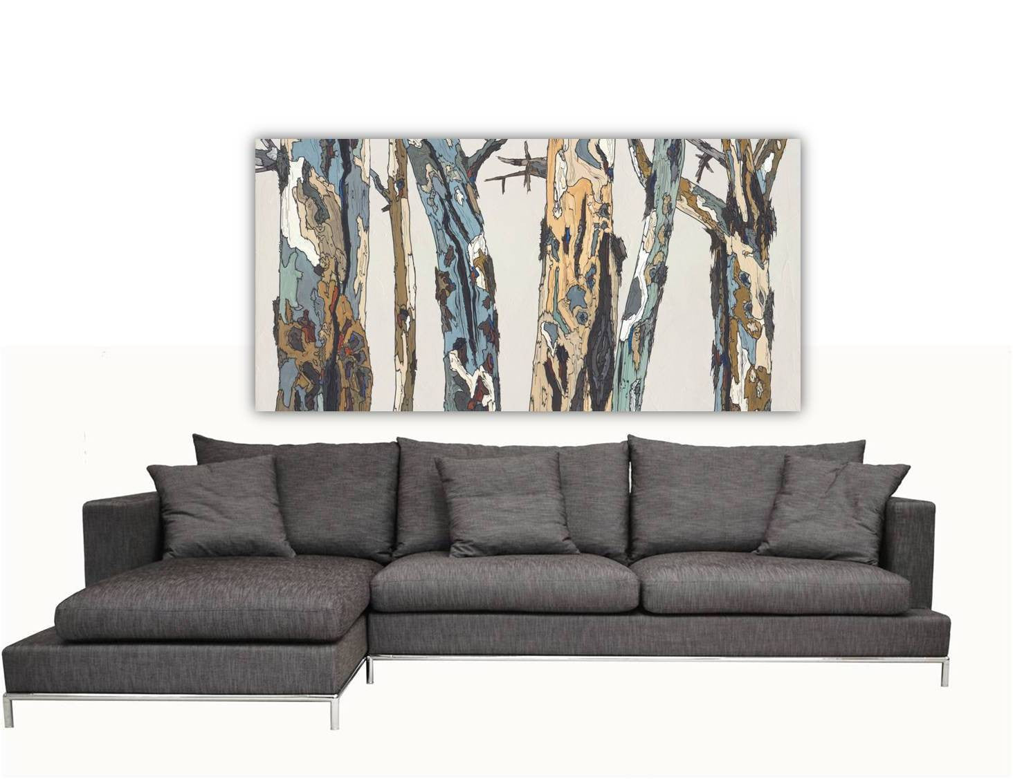 large artwork white living room