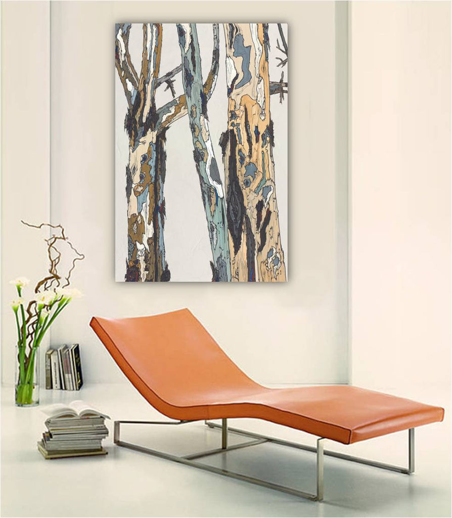 Extra large oversized wall art white modern rustic birch trees canvas print pastels tree art office decor