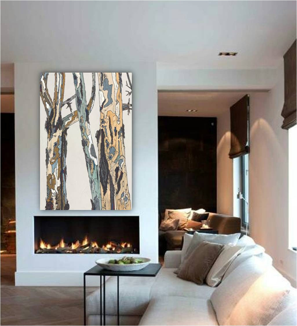 Long extra large wall art white modern rustic canvas print pastels tree art office decor