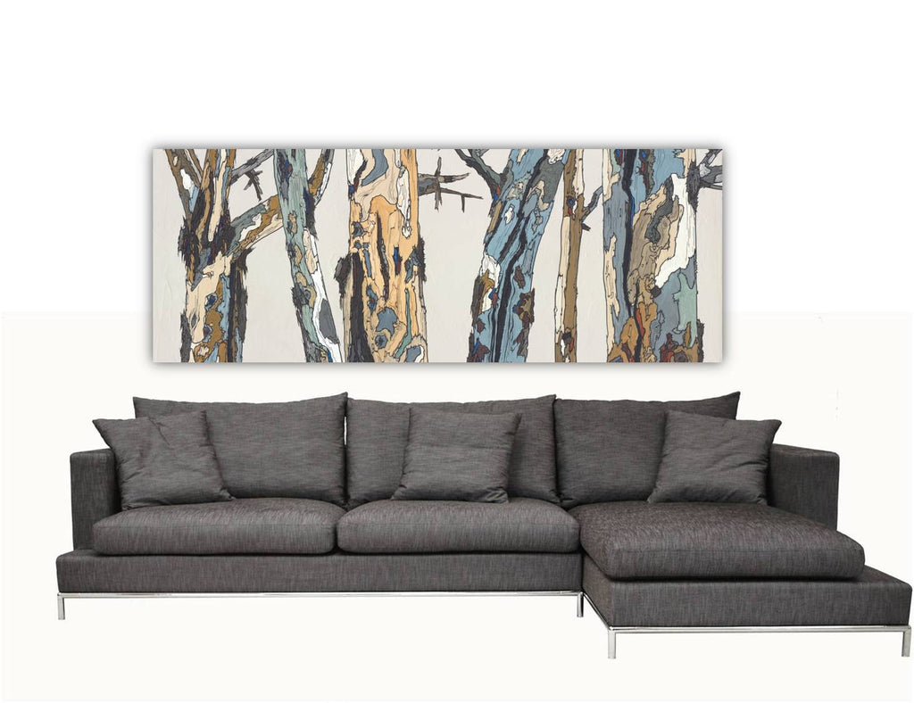 Huge long modern rustic white landscape trees large wall art canvas print artwork white pastels