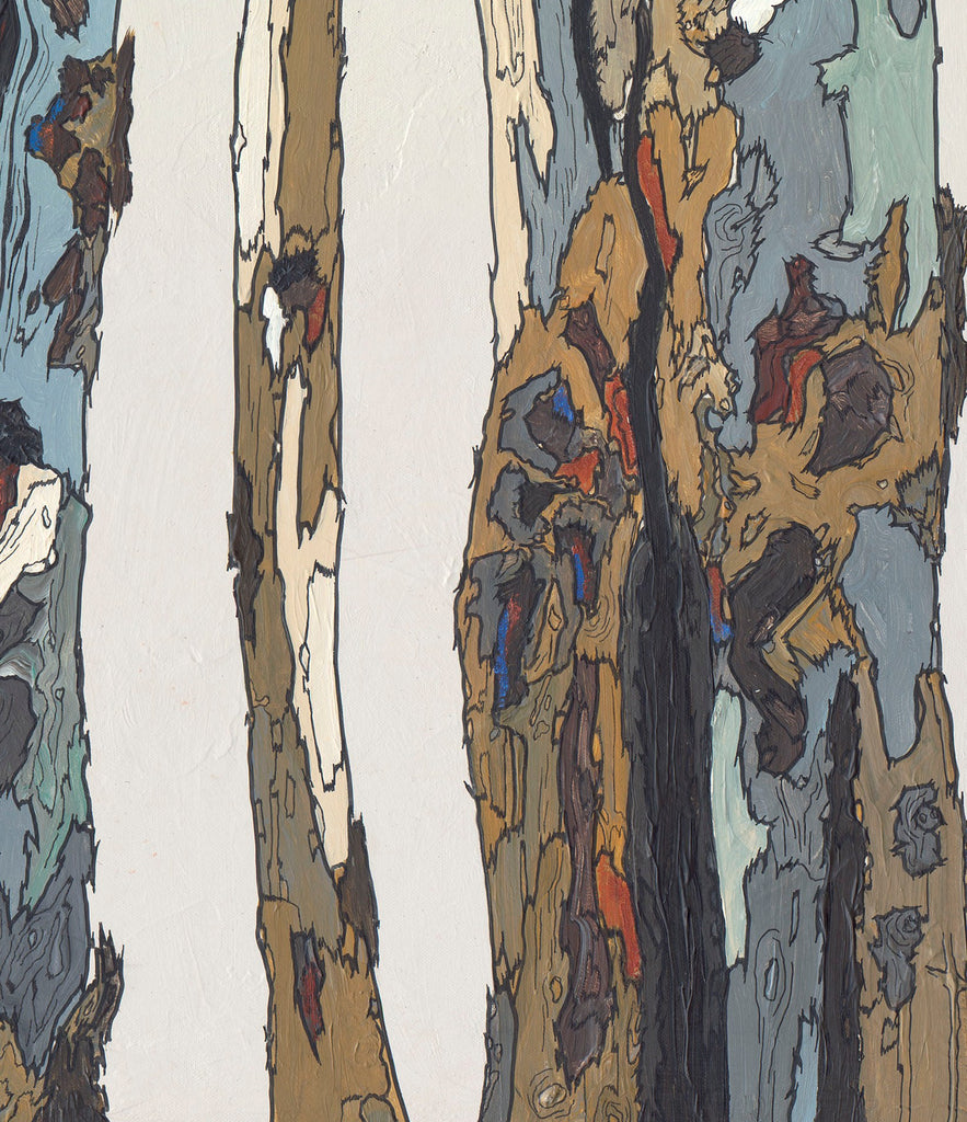 blue brown white artwork trees