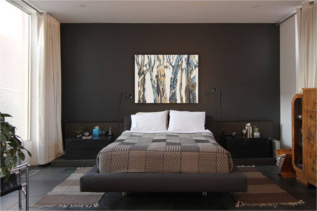 extra large bedroom wall art, extra large painting of trees, extra large canvas wall art, large tree art, white tree art, white and pastels original painting, horizontal original painting, large horizontal painting, painting of trees, painting of tree branches, original painting of tree trunks, original white oil and pastel painting, original white painting of trees, iranian artist, iranian artwork