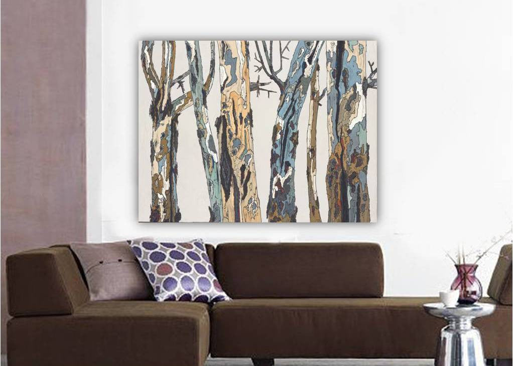 Large ORIGINAL artwork white pastels blue landscape tree trunks painting canvas wall art