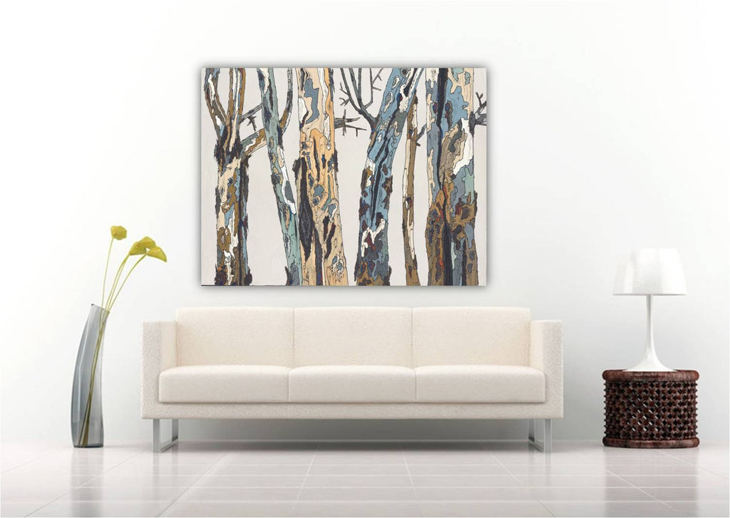 oversized wall art trees white