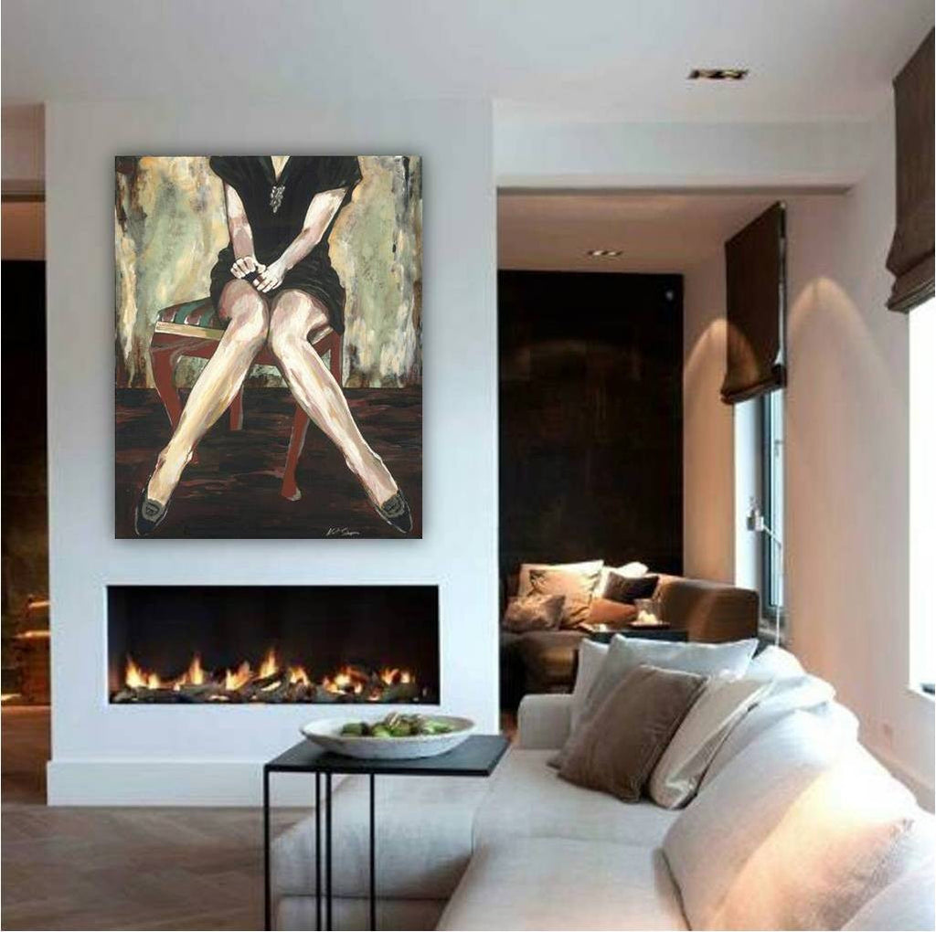 Large wall art giclee sexy woman canvas print modern figurative fine art black green