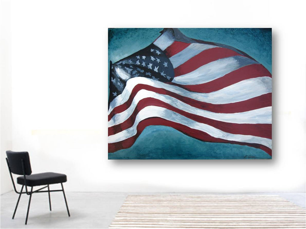 colorful artwork american flag large