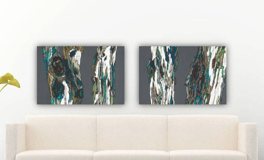 huge artwork diptych trees