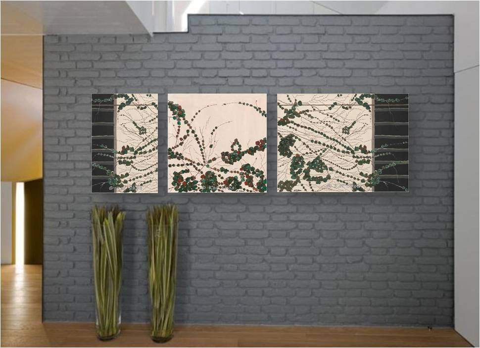 Extra LARGE wall art white green black artwork canvas print set gift for her