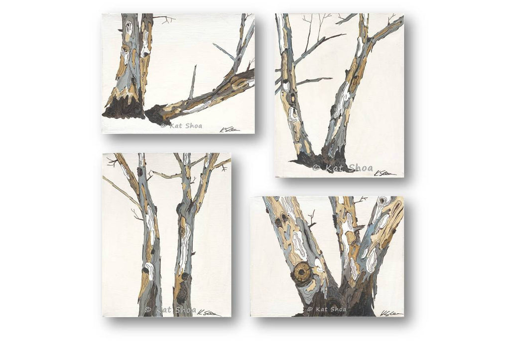 Modern rustic wall art - #4 in a set of 4 - trunk of big trees | landscape