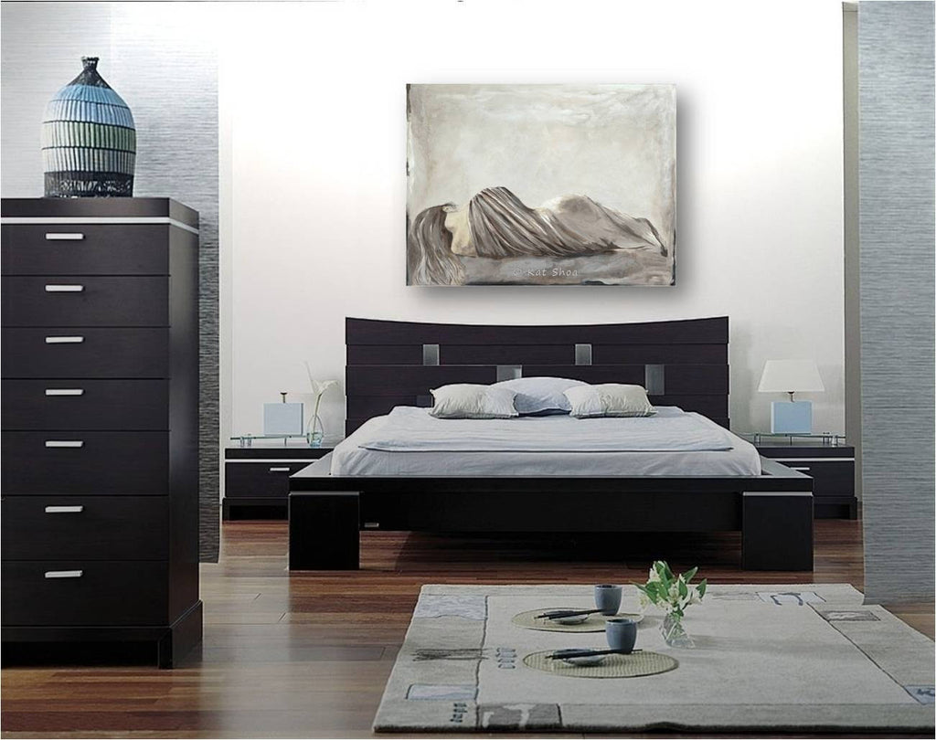 original painting for bedroom, large original painting, large art of sexy women, large canvas art for bedroom, taupe home design, greige home decor, bedroom decor sexy, wall art above bed, modern decor bedroom, modern artwork bedroom, art by iranian artists, iranian artists, neutral decor bedroom