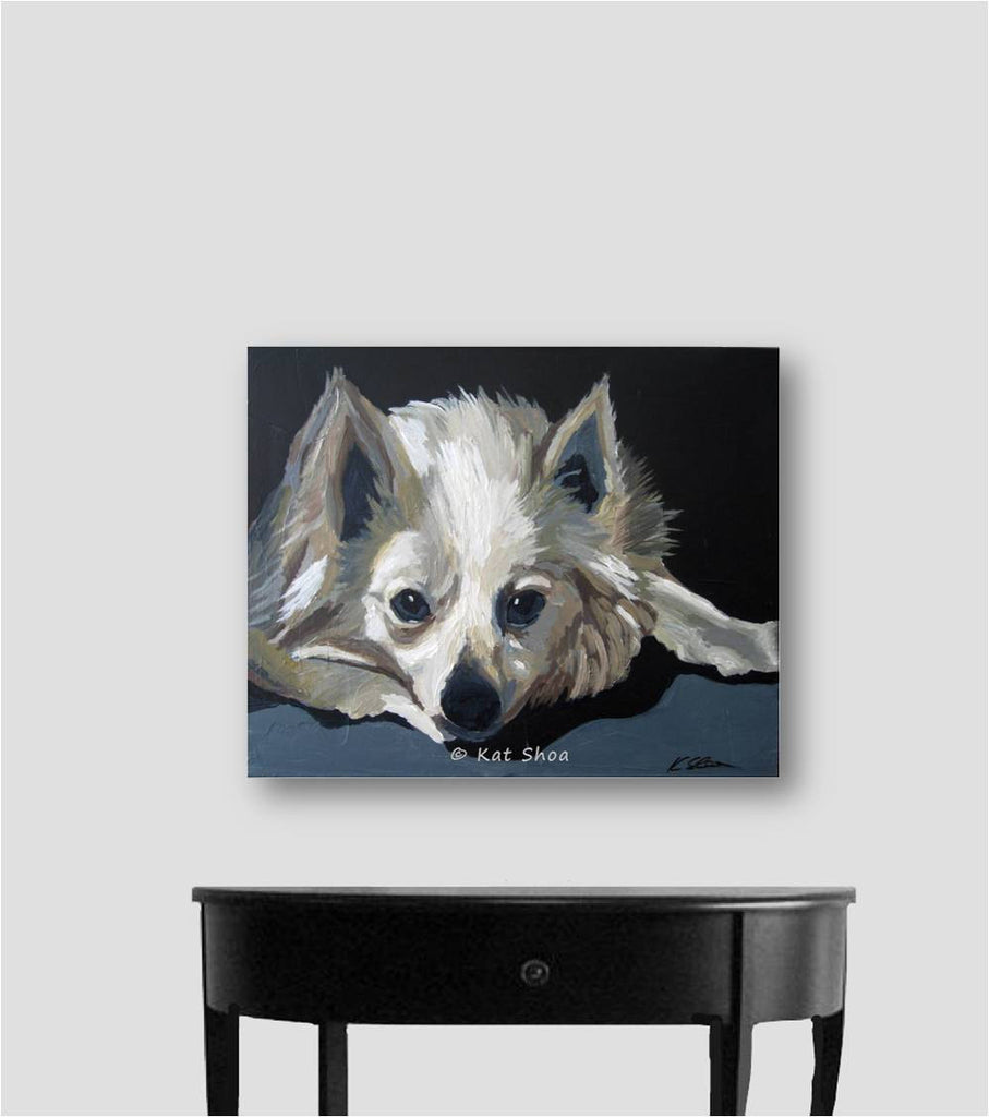 black white painting dog