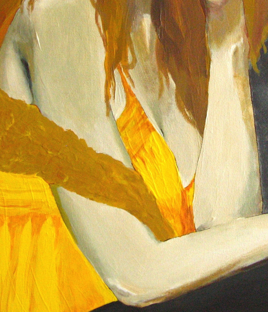 sexy painting of woman body, original painting woman body, original sexy painting of redhead, sexy bedroom decor, yellow bedroom decor, yellow bathroom wall art, yellow gray living room wall art, living room wall art, one of a kind gift for her, gift to impress her, sexy bedroom wall art
