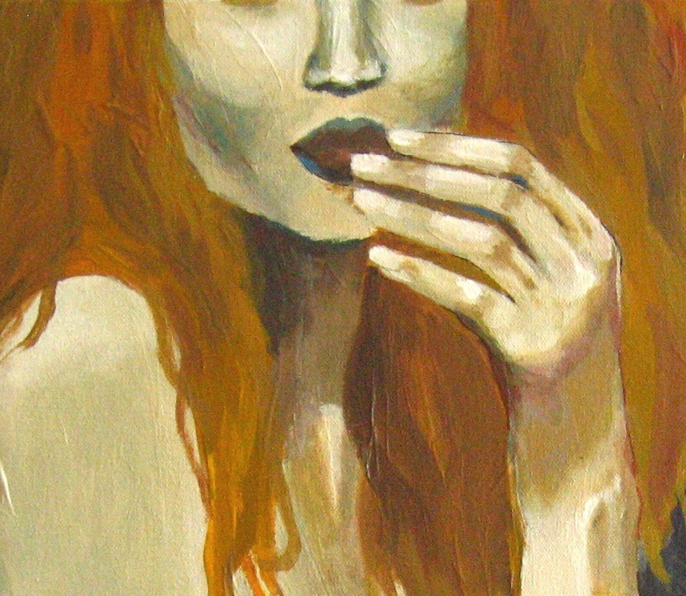 original painting of redhead woman, sexy painting of woman, original artwork redhead, original hand painting, painting of hands and face, sexy bedroom wall decor, sexy bedroom wall art, yellow bedroom decor, yellow orange home decor, gray yellow wall art, gift for her, gift to impress her, yellow gift, canvas art for bedroom, yellow wall art