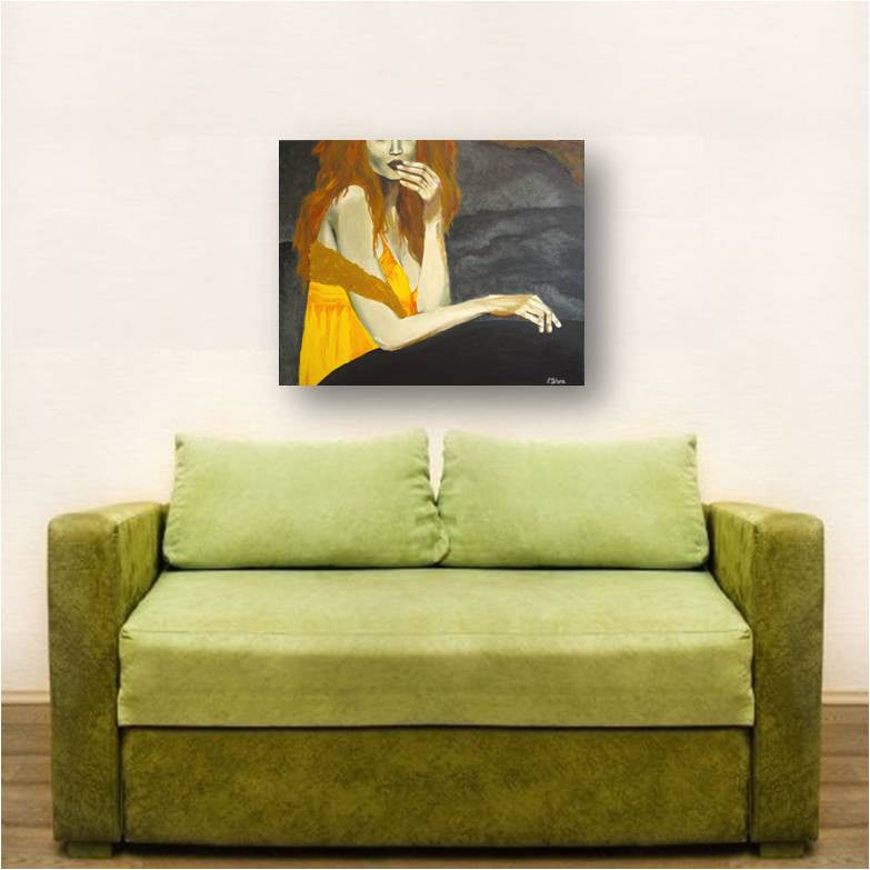 modern figurative painting of woman, modern painting of sexy woman, figurative painting of woman, painting of hands, gray yellow wall art, yellow bedroom design, yellow gray living room wall art, dining room wall art, gift to impress her, special gift for her, yellow gift for her, sexy redhead painting, yellow orange gray decor, orange home decor