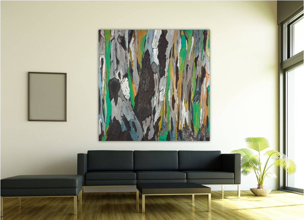 LARGE green masculine wall art square canvas print abstract tree artwork living room decor