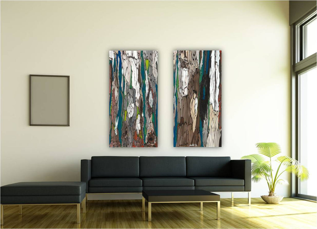 Huge abstract diptych wall art living room office decor canvas set extra large print blue teal artwork