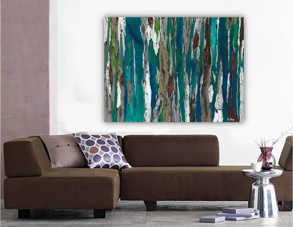 ORIGINAL large abstract painting of trees landscape artwork modern blue art