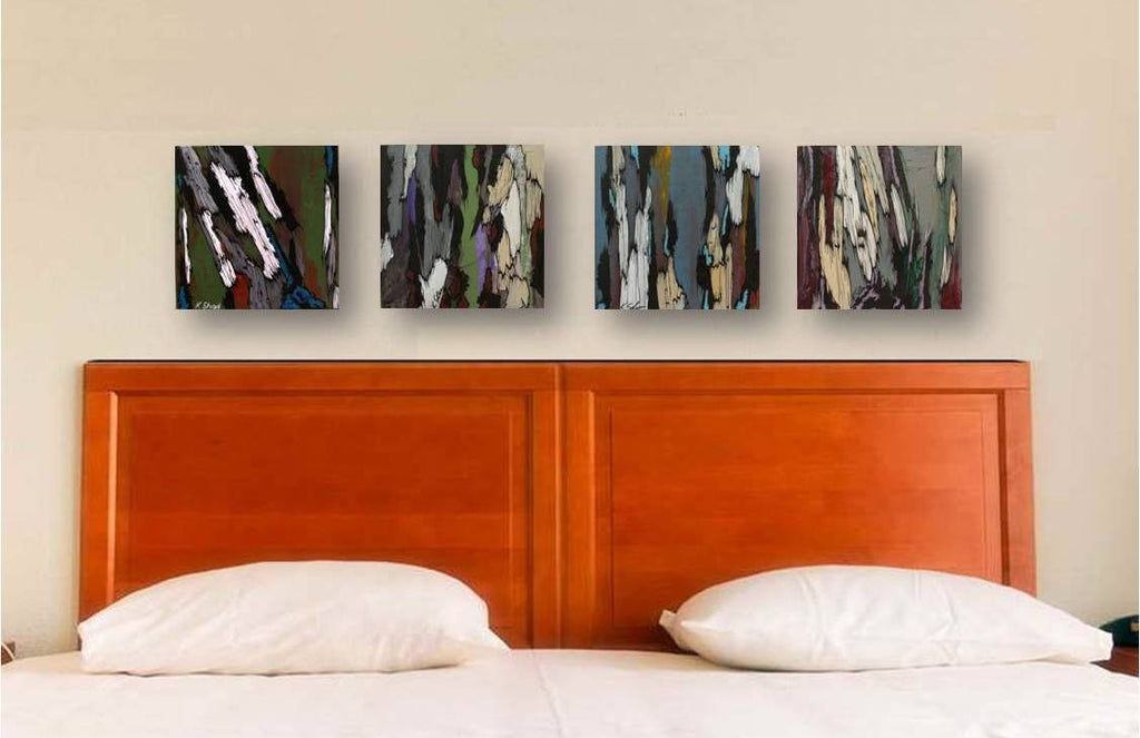long wall art, extra long original artwork, original painting of trees, abstract tree art, artwork over bed, living room wall art, wall art over sofa, masculine decor ideas, masculine office art, home office decor ideas, long horizontal wall art, gift for him, gift for executive client, gift for husband, gift for men, gray wall art, abstract tree art, painting of tree trunks, tree bark paintings