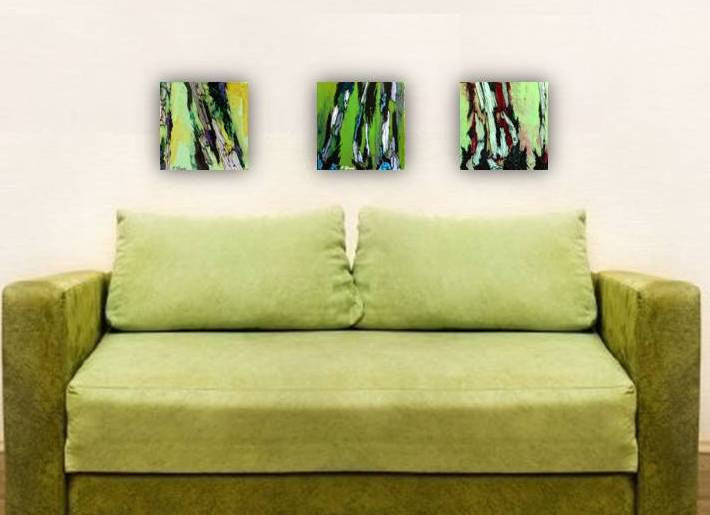 original green paintings, small cute art, gift for her, christmas gift for him, gift for art lover, painting of trees, abstract tree art, abstract green paintings, abstract artwork, colorful home decor, colorful wall decor, bedroom wall art, living room wall art, dining room wall art, office wall art, green painting of tree trunks