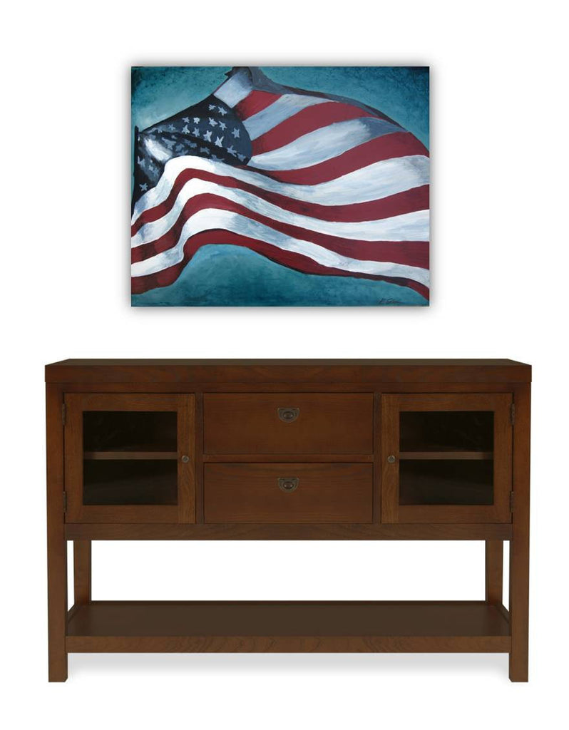 painting of the US flag, american flag wall art, patriotic wall art, military wall art, home office wall art, office wall decor, patriotic painting, red white and blue, living room wall art, dining room wall art, wall art over credenza, artwork for office, wall art for living room