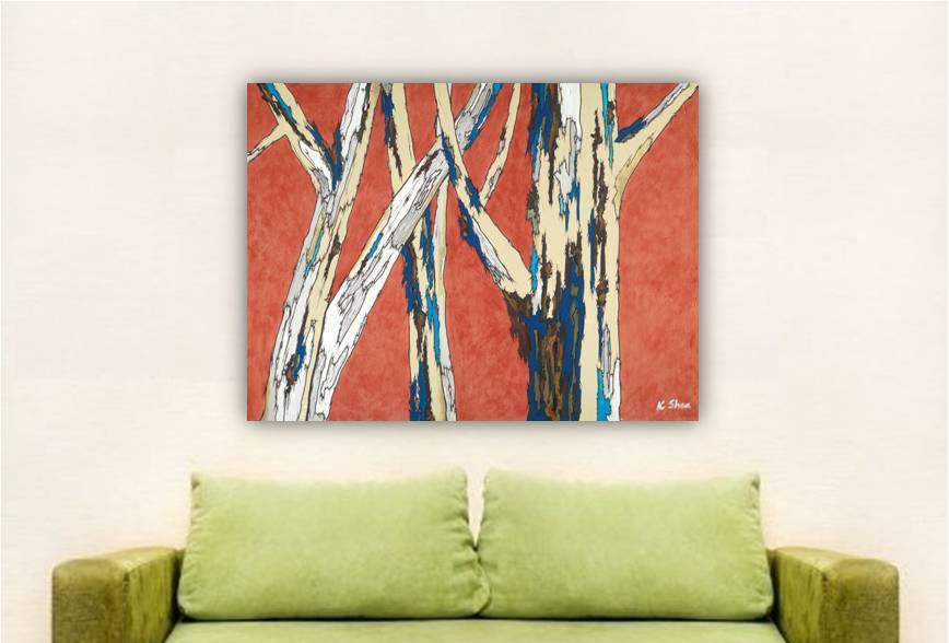 Tree art ORIGINAL artwork orange painting large wall art modern canvas landscape birch trees