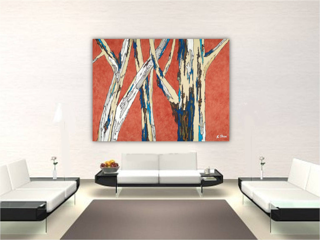 Extra large wall art bold oversized canvas print orange tree artwork orange modern landscape Birch Trees
