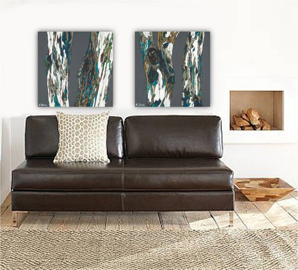 Masculine large art ORIGINAL diptych painting set tree trunks modern landscape