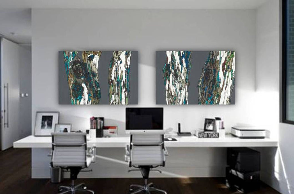 Extra Large Diptych Wall Art Oversized Gray Canvas Art Shoa Gallery