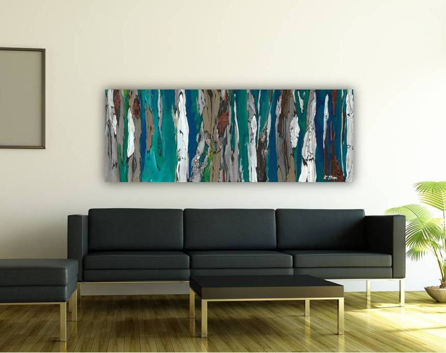oversized long abstract blue artwork