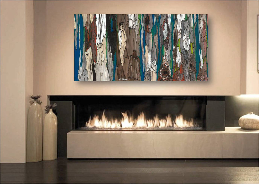large modern artwork blue brown