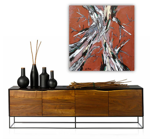 Extra Large Wall Art Burnt Orange Square Artwork Abstract Trees Canvas Print