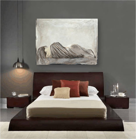 Huge bedroom wall art sexy greige gray taupe decor canvas print neutral white figurative
