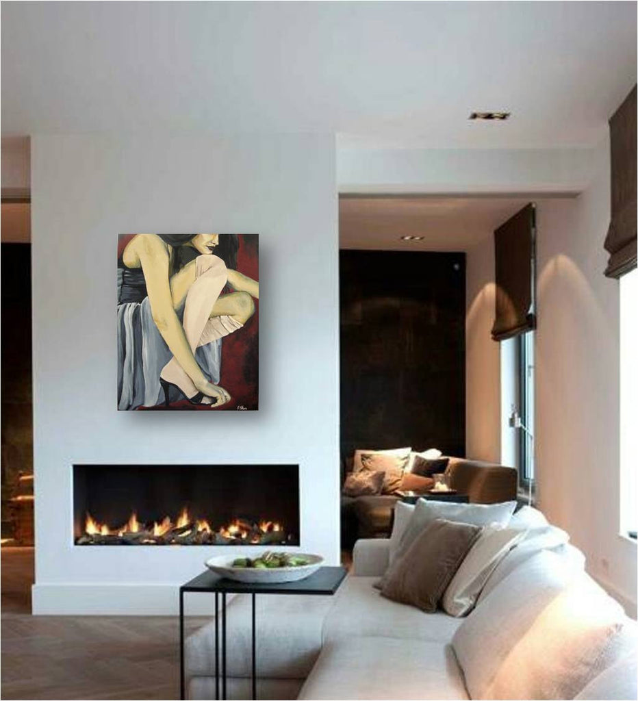 modern fashion painting, painting of sexy fashion model, painting of dancer, artwork of sexy legs, fashion wall art, bathroom wall art, entryway wall decor, bedroom wall art, gift for her, sexy gift for her, fireplace mantle wall art, living room wall decor, red blue painting of woman