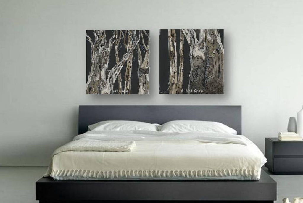 LARGE wall art set masculine black and white canvas diptych tree artwork giclee print