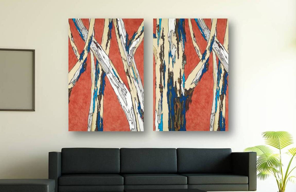 Extra LARGE wall art orange birch trees modern landscape oversized diptych artwork giclee canvas print