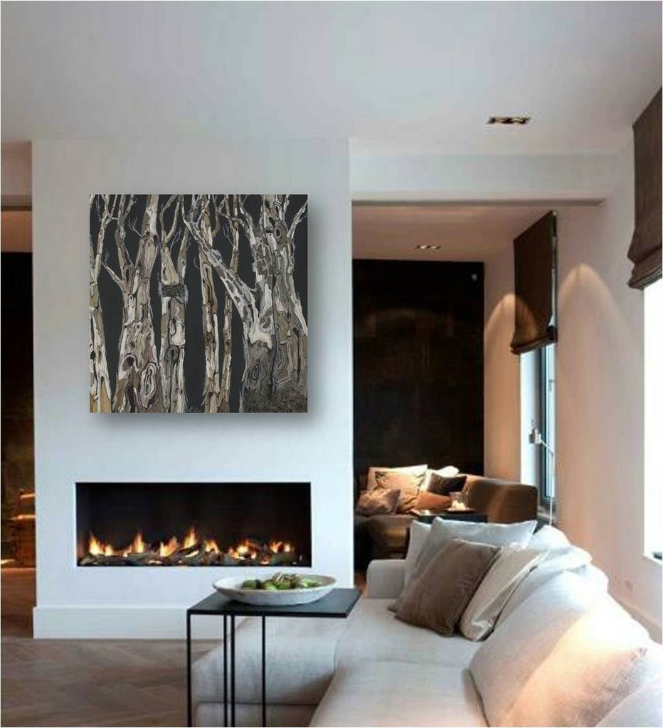 Birch trees wall art extra large modern artwork masculine black and white canvas giclee print