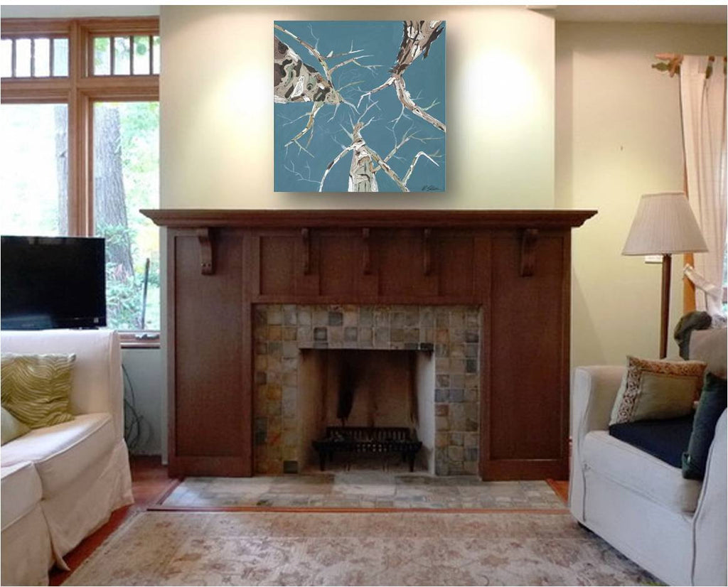 Turquoise baby blue large coastal wall art canvas print square modern artwork