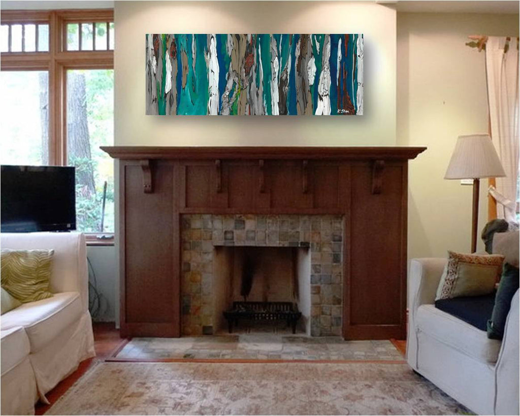 mantel decor blue artwork