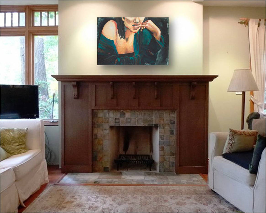 large wall art transitional decor, large wall art over fireplace mantle, sexy woman artwork, painting of sexy women, sexy bedroom artwork