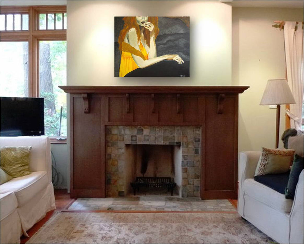 modern original painting, figurative painting of sexy woman, modern wall art yellow gray, yellow living room decor, yellow gray bathroom decor, gray yellow wall art, original gray yellow artwork, special gift for her, wall art over fireplace mantle, artwork over fireplace mantle, transitional home decor, sexy bedroom artwork