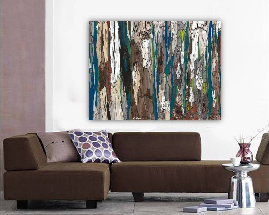 Oversized Wall Art Blue Brown Abstract Landscape ...