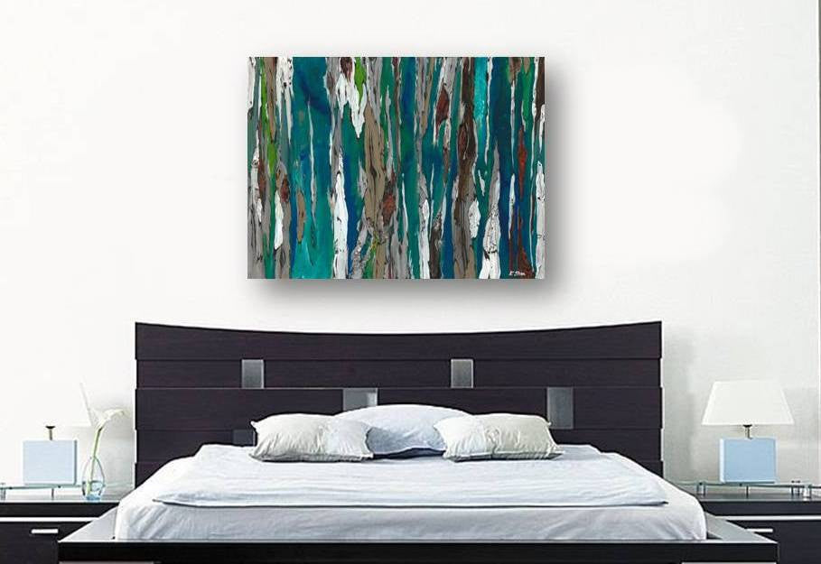 original blue large painting, extra large blue original art, large painting over bed, large bedroom artwork, extra large living room artwork, large dining room wall art blue, blue large wall art, blue large abstract paintings, special gift for her, expensive gift to impress her, gift to impress her