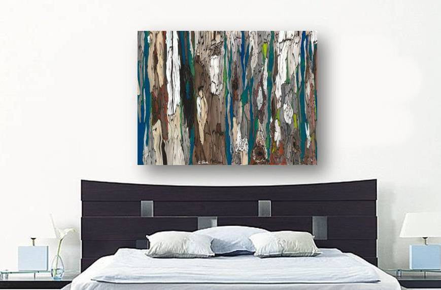 ORIGINAL extra LARGE masculine wall art abstract landscape painting modern tree art blue
