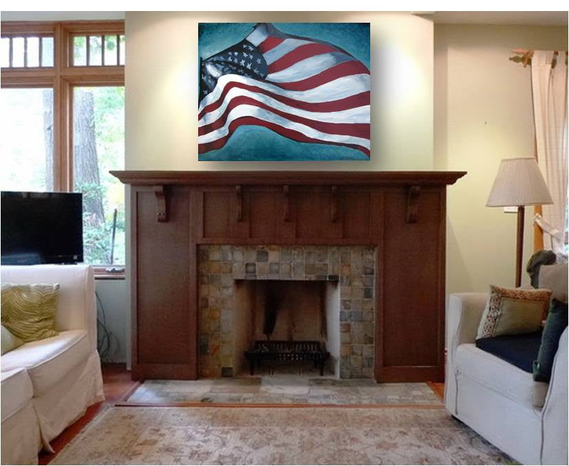 patriotic fireplace mantle art, living room wall art, home office wall art, patriotic decor, patriotic wall art, painting of the american flag, american flag wall art, veteran gift, patriotic gift, red white and blue wall art, american flag artwork, professional office wall decor, office wall art, patriotic office artwork