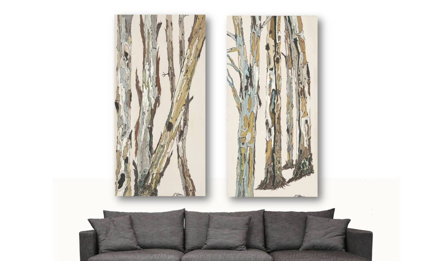 huge wall art diptych tree art