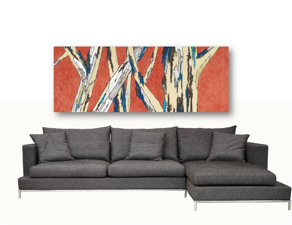 Huge wall art long orange artwork giclee canvas print modern landscape tree trunks