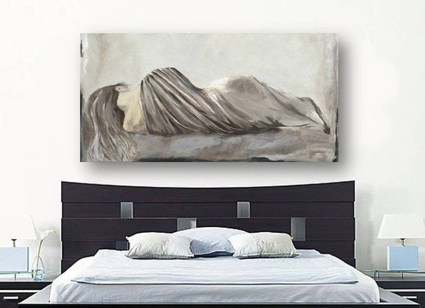 Greige netural LARGE wall art bedroom decor figurative sexy woman canvas print pastels white taupe artwork