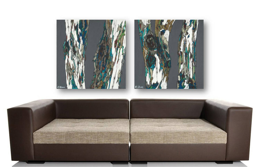 Masculine extra LARGE diptych wall art huge print set oversized tree trunks artwork modern rustic